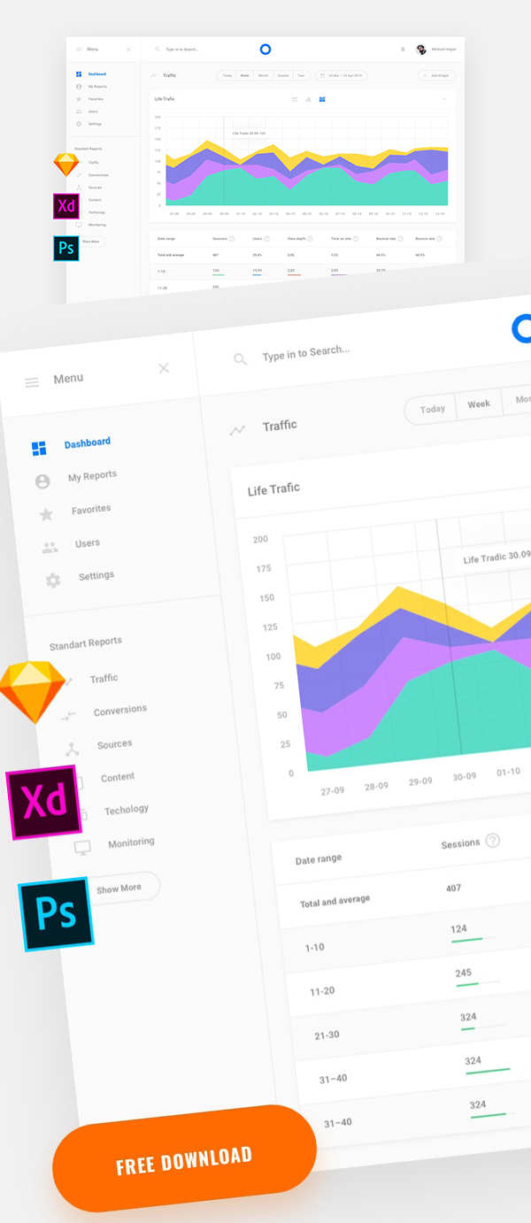 Web Stat Free Dashboard UI Design Template