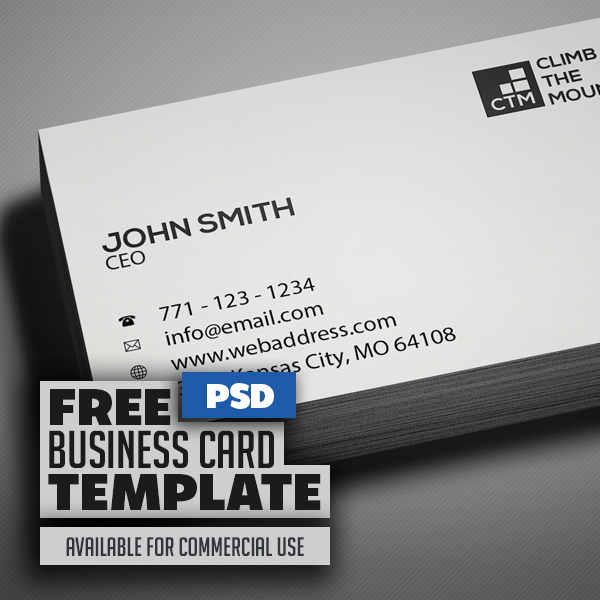 Free Minimal Clean Business Card PSD Template