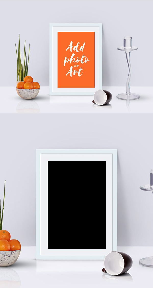 Free Photo Frame Mockup Scene PSD Template