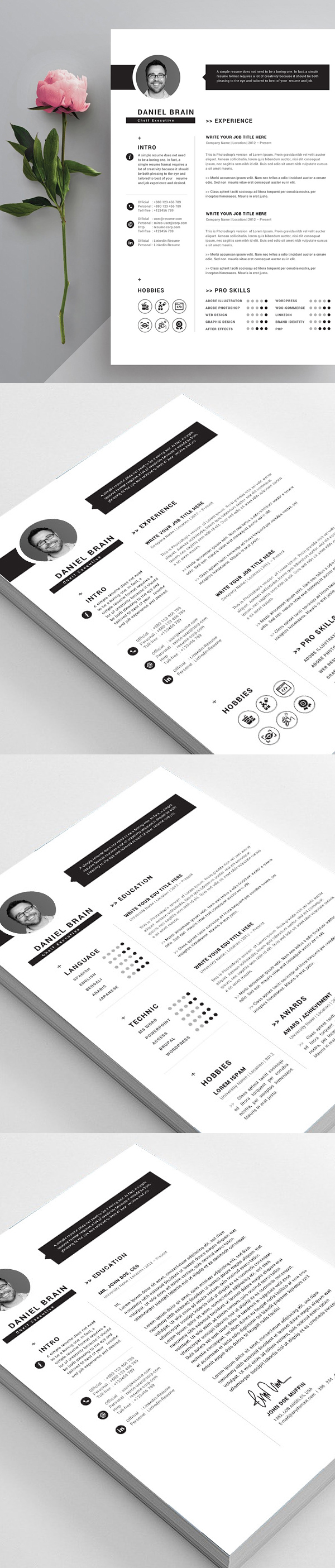 Free 2 Pages CV/Resume Template
