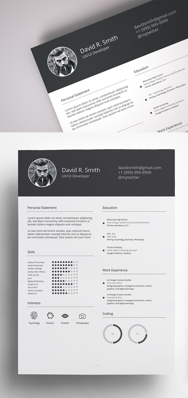 Free Resume Template Download CV [Ai, PSD]