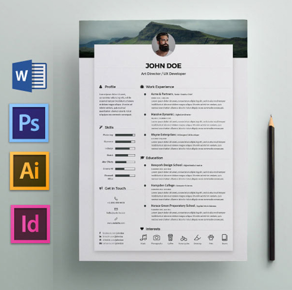 Free Resume Template with Word & PSD File