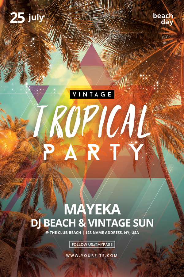 Free Vintage Tropical Party PSD Flyer Template