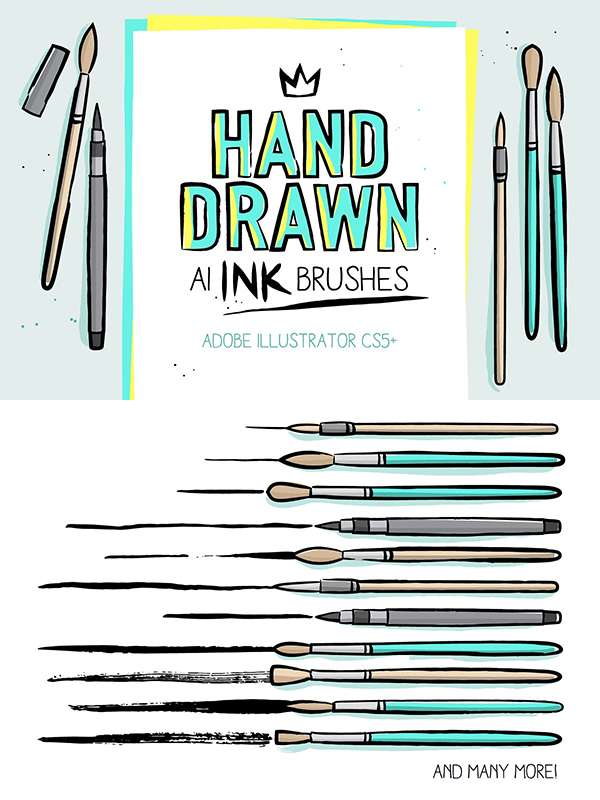 AI hand drawn ink brushes