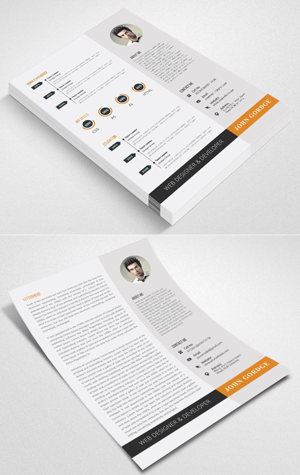 2 Pages CV Resume Word Template
