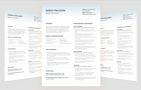 Flight Attendant Resume Template