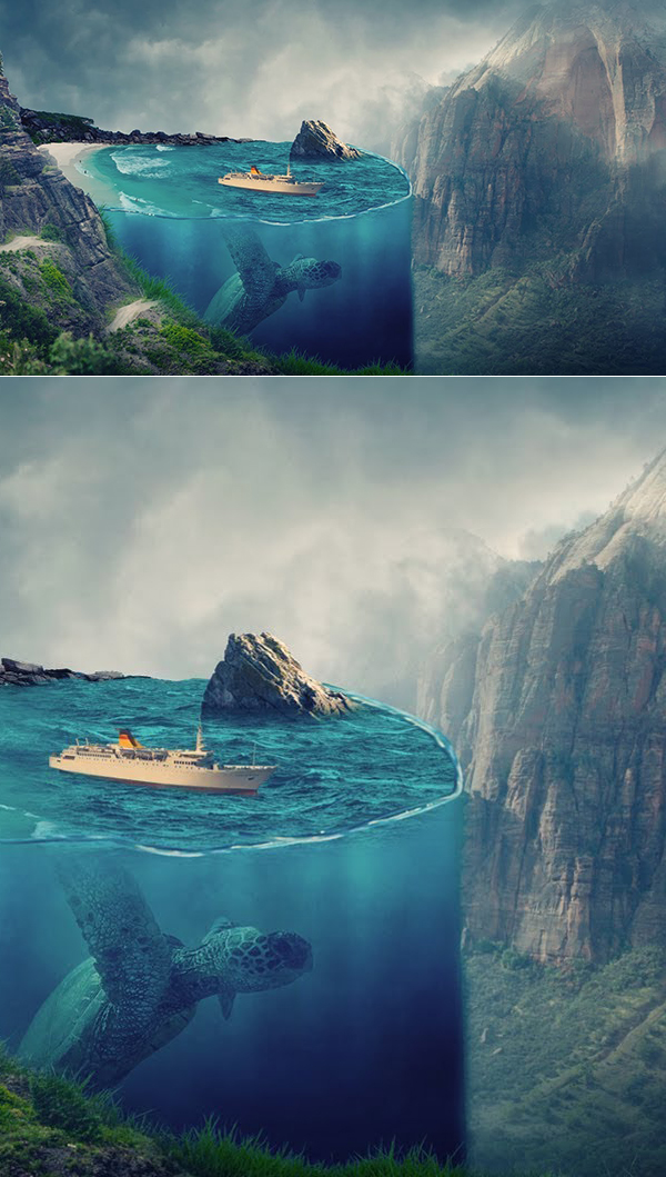 How to Create 3D Underwater Effect Creative Art in Photoshop Tutorial