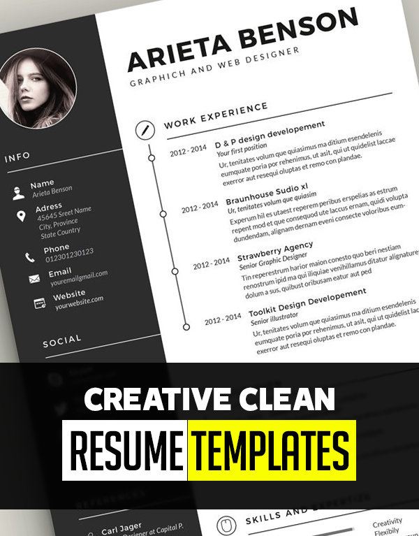 30 Creative Clean CV / Resume Templates with Cover Letters