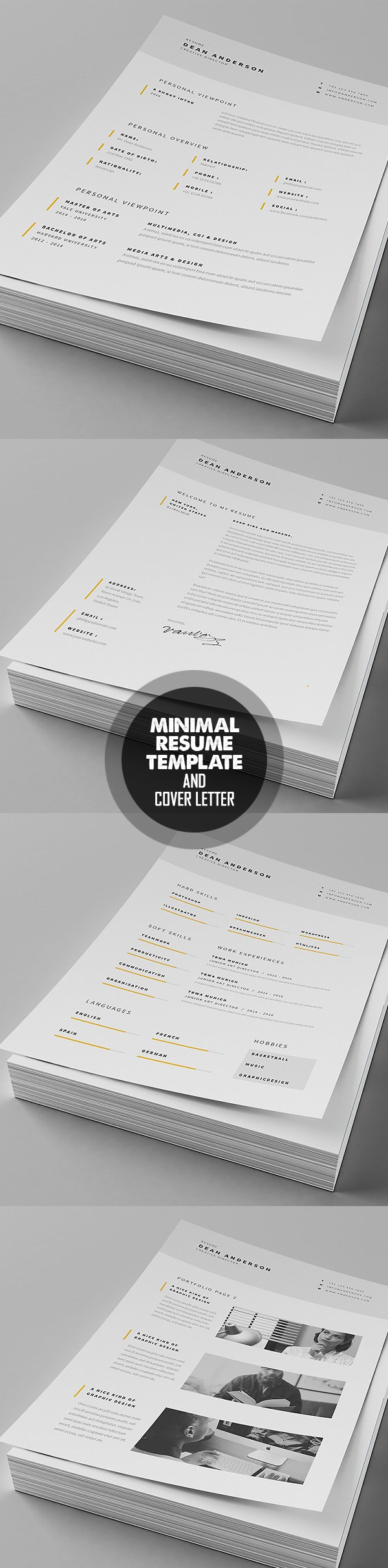 Minimal Resume   Cover Letter Template #resumedesign