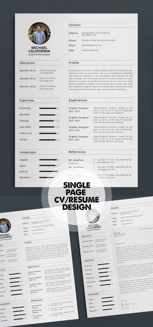 Single Page Resume/CV Template #resumedesign