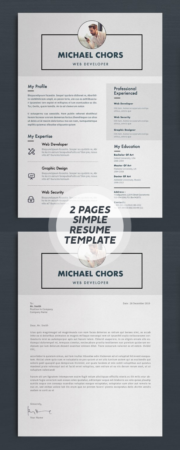 2 Page Resume/CV Design #resumedesign