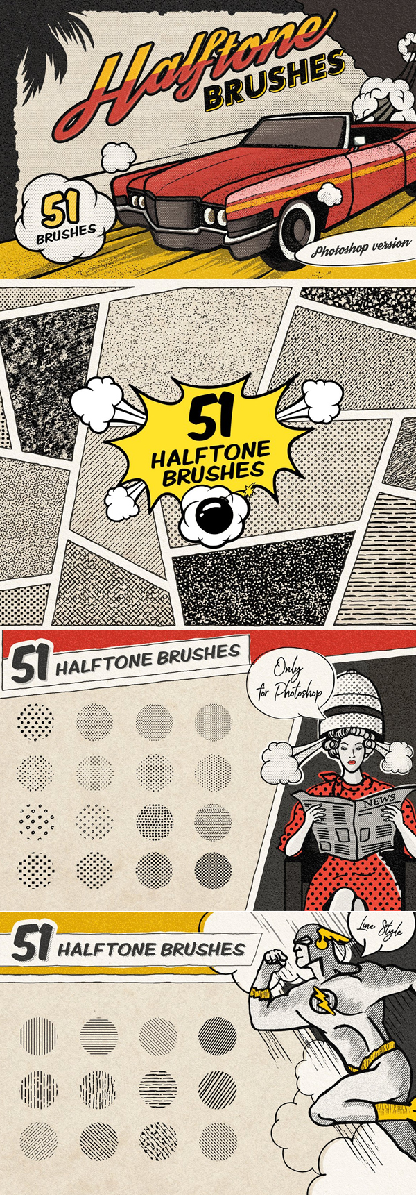 Vintage Comic Book Halftone Brushes