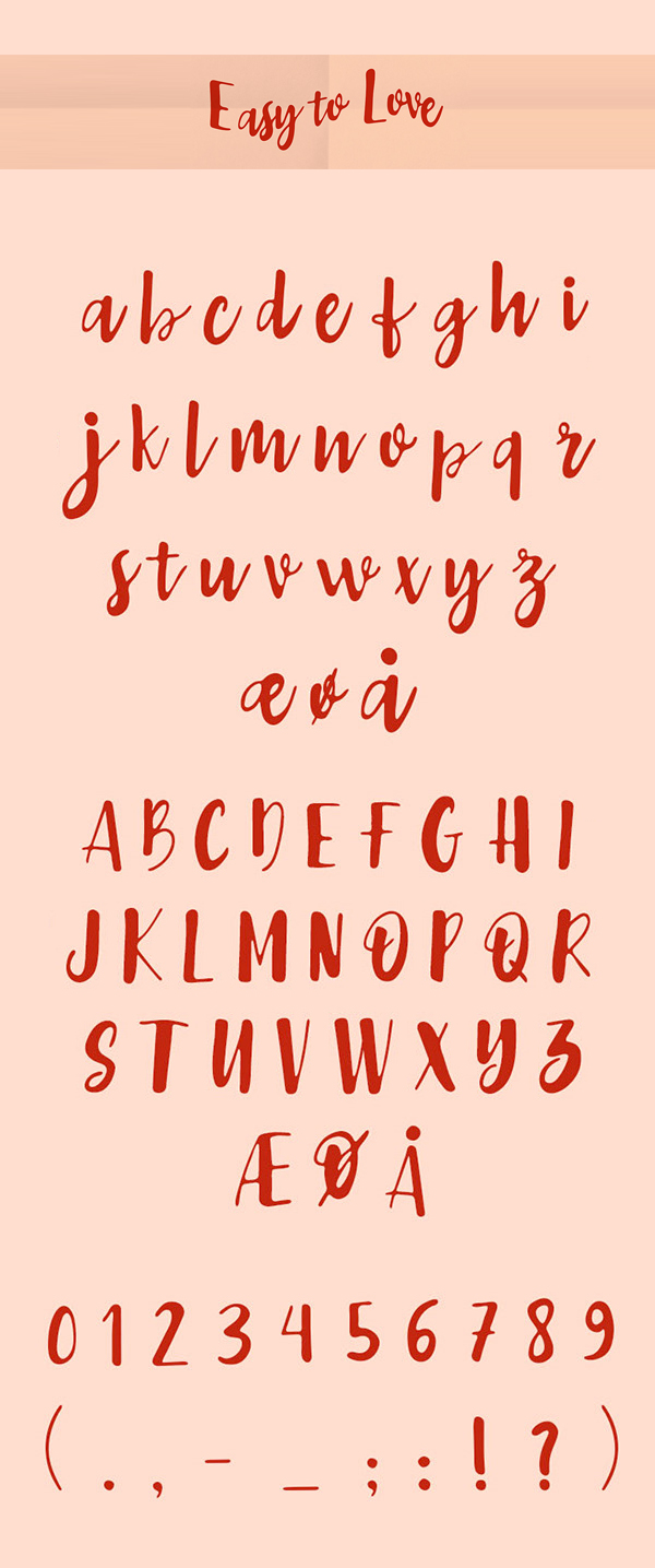 Easy to Love Free font letters