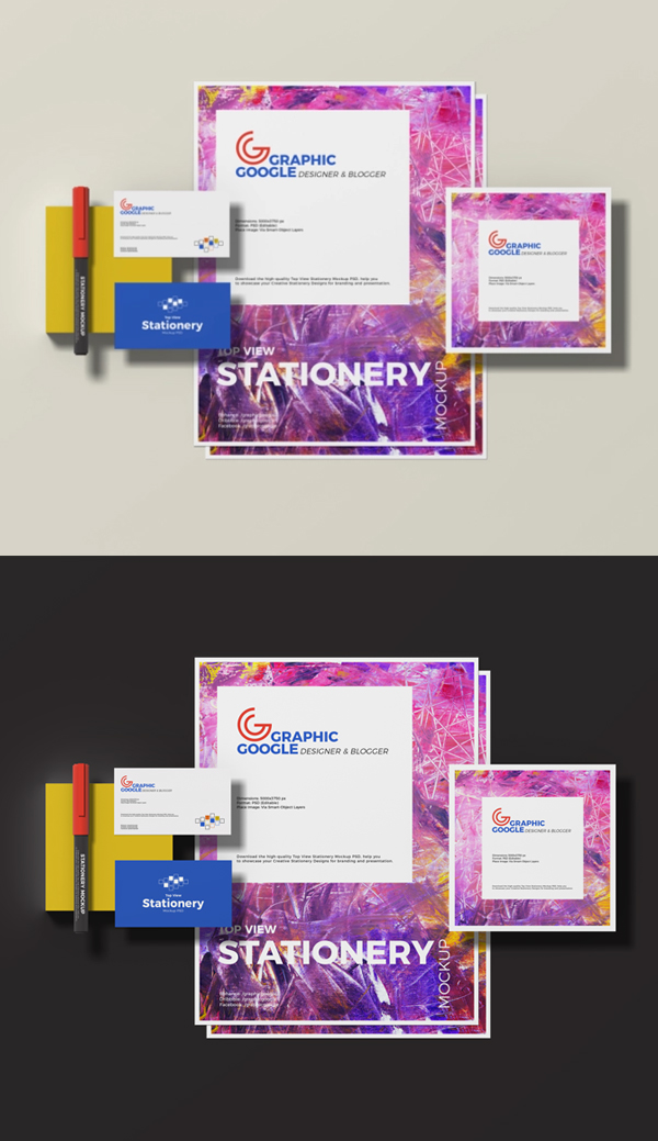Free Top View Stationery Mockup PSD
