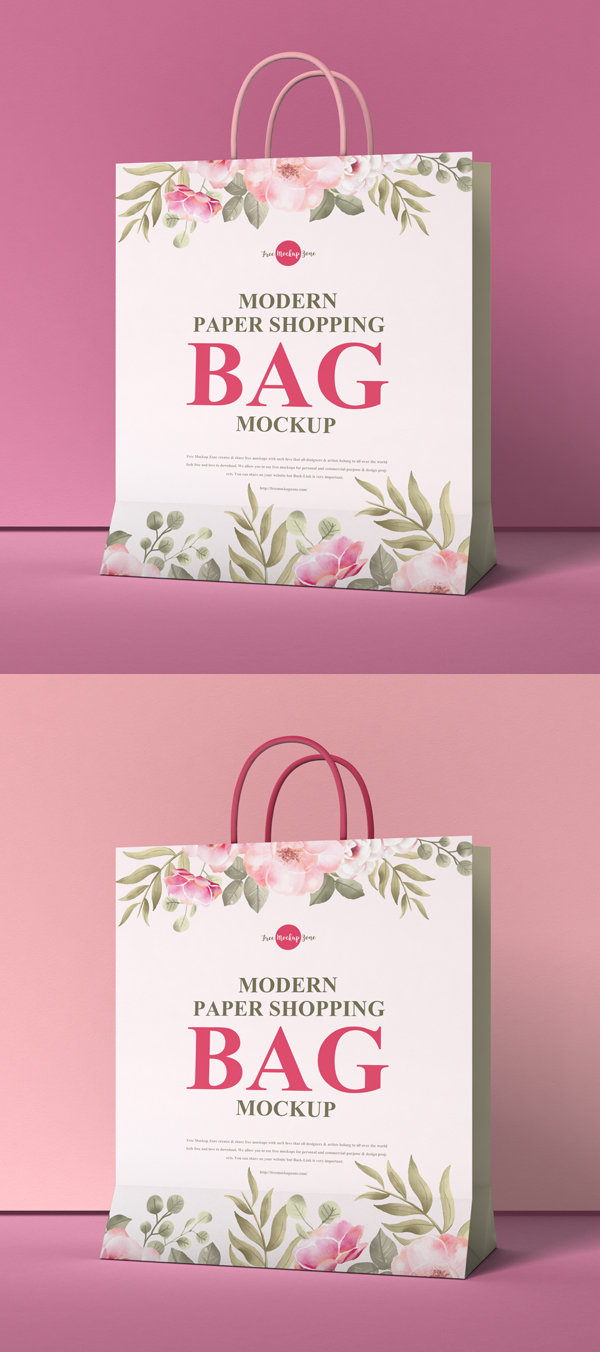 Free modern paper shopping bag Mocku