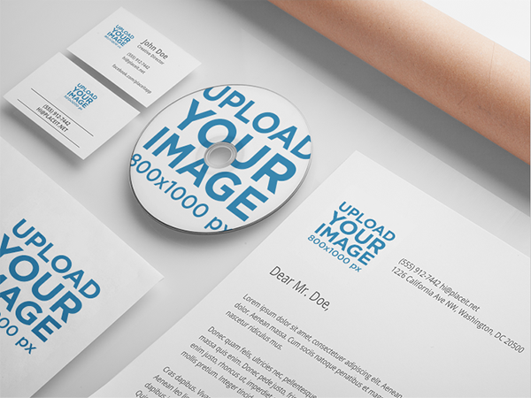 Branding mockup featuring a set of various stationery items