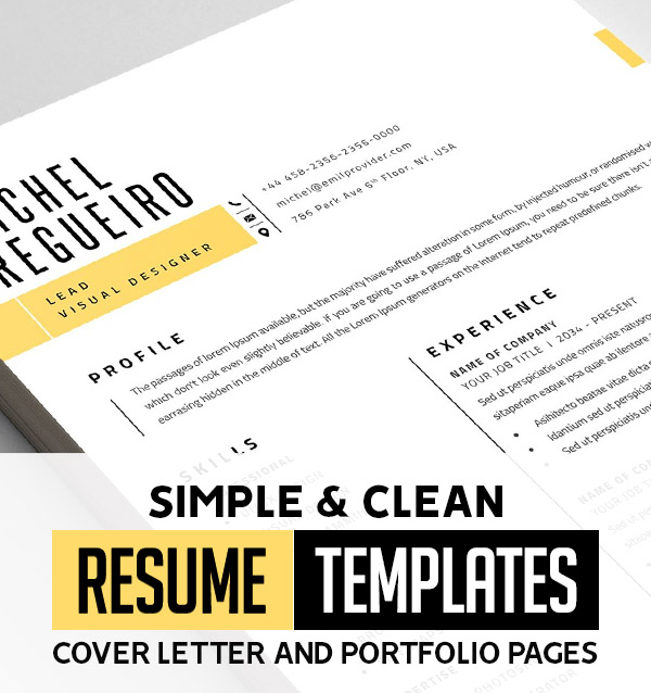 25 Clean CV / Resume Templates with Cover Letters