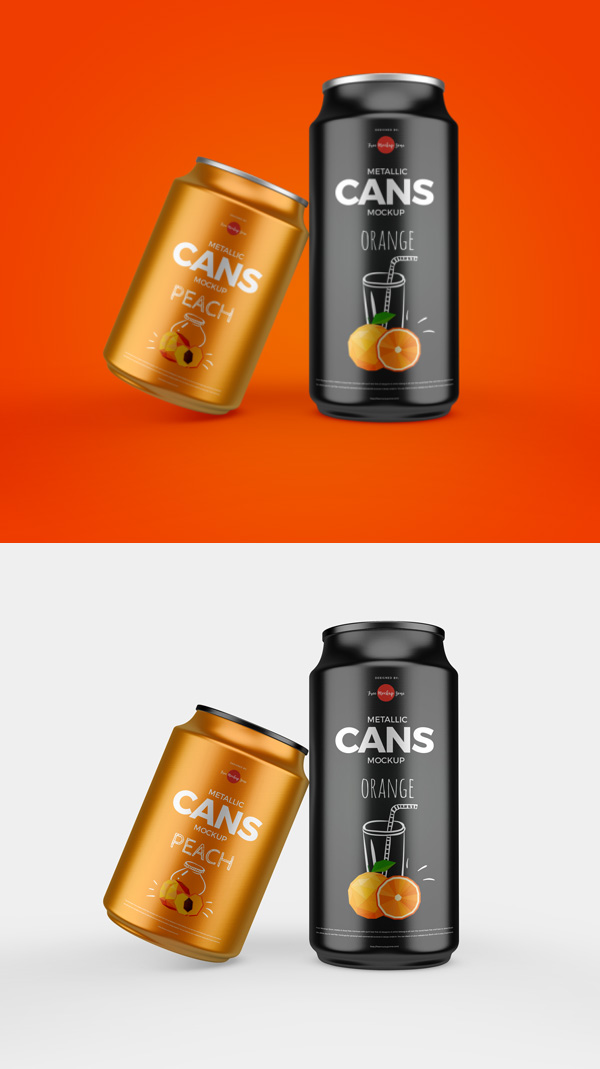 Free Metallic Cans Mockup PSD