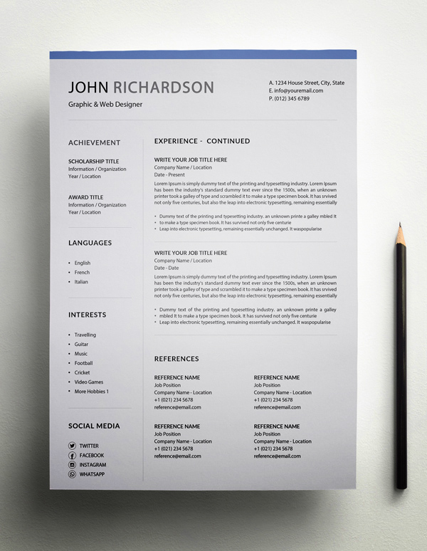 Freebie – Simple CV/Resume Template Page 2