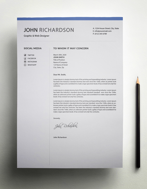 Freebie – Simple CV/Resume Cover Letter