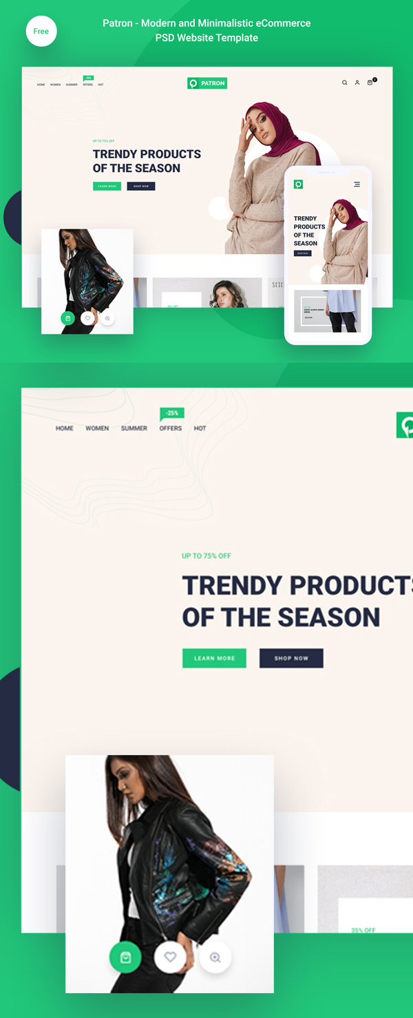 Free Modern And Minimalistic E-Commerce PSD Template