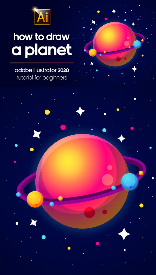 Learn How to Draw Planet in Adobe Illustartor 2020