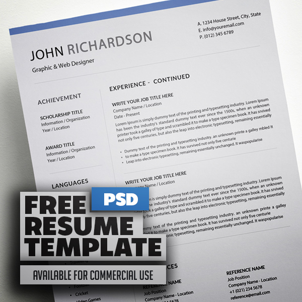 Freebie – Simple CV/Resume Template