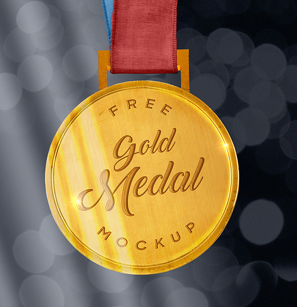 Free Sports Gold Medal Mockup PSD