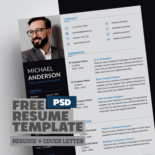 Free Resume + Cover Letter Templates (PSD)