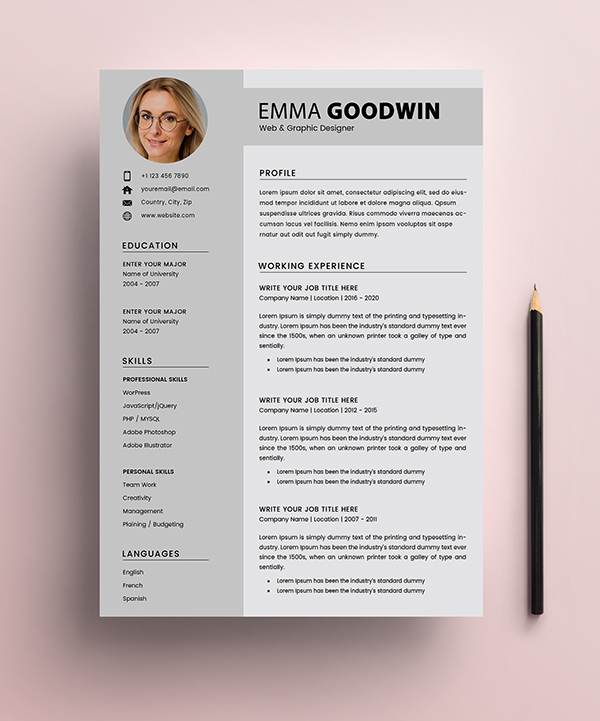 Free Resume 2 Page + Cover Letter Templates (PSD) - 1