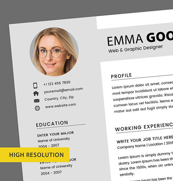 Free Resume 2 Page + Cover Letter Templates (PSD) - 7