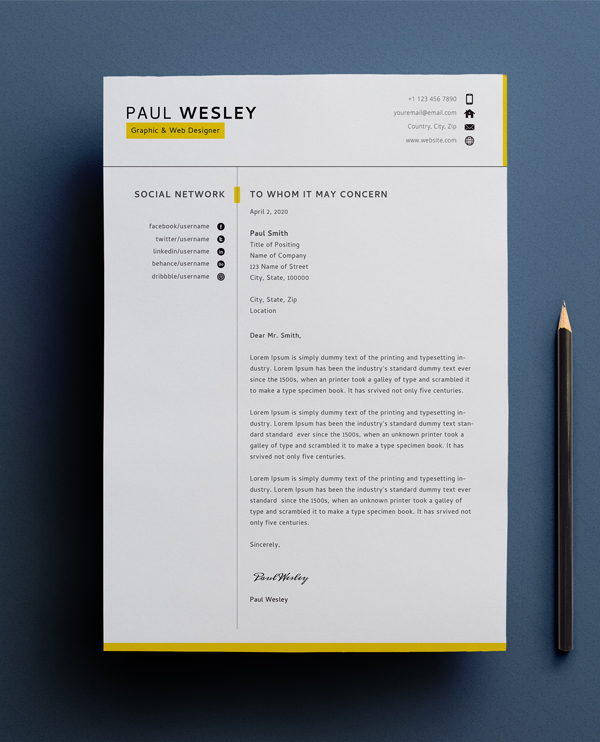 Free Resume Template & Cover Letter (PSD) + Business Card - 1