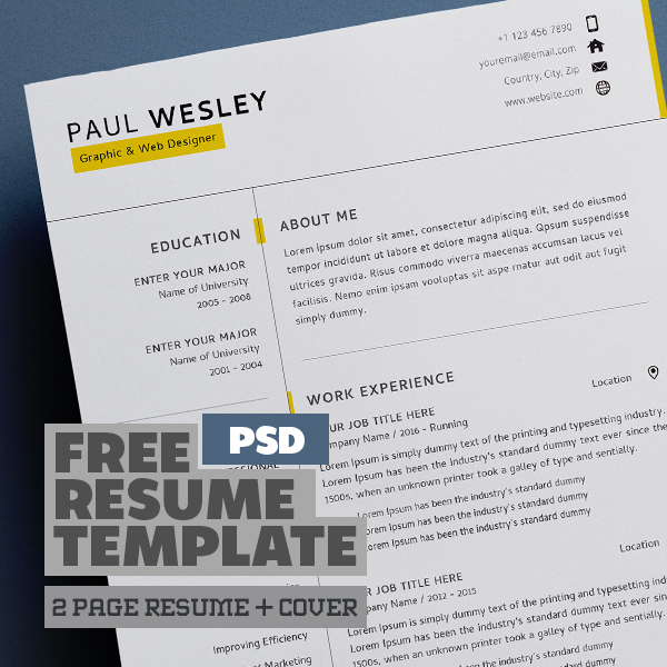 Free Resume Template & Cover Letter (PSD) + Business Card
