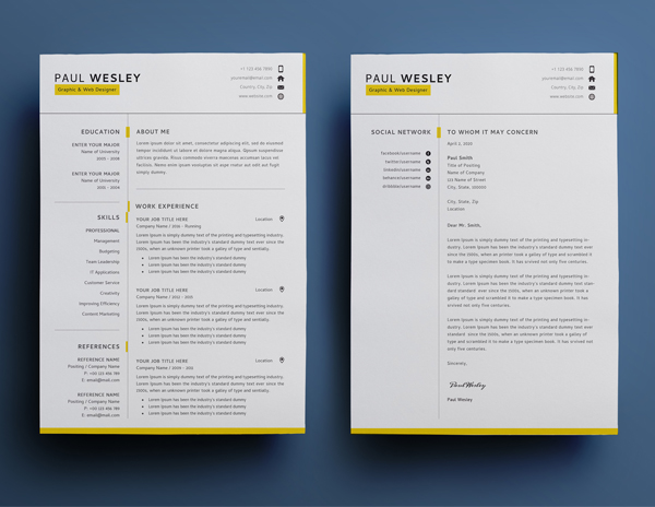 Free Resume Template & Cover Letter (PSD) + Business Card - 2