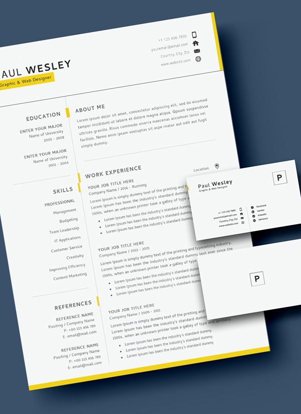 Free Resume Template & Cover Letter (PSD) + Business Card - 4