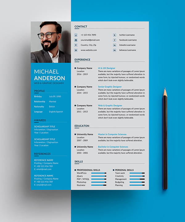 Free Resume + Cover Letter Templates (PSD) - 3