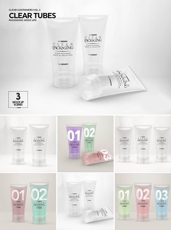 Clear Cosmetic Tube Mockups