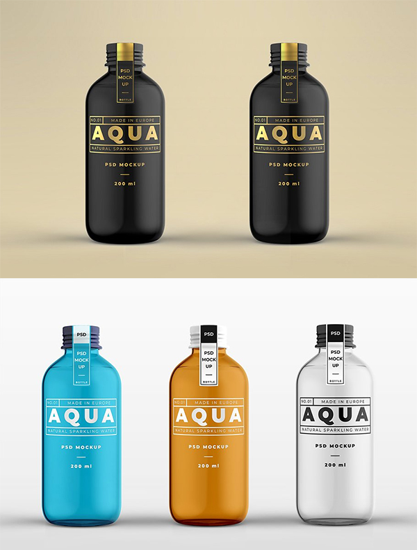Glass Bottle Mock-up Template
