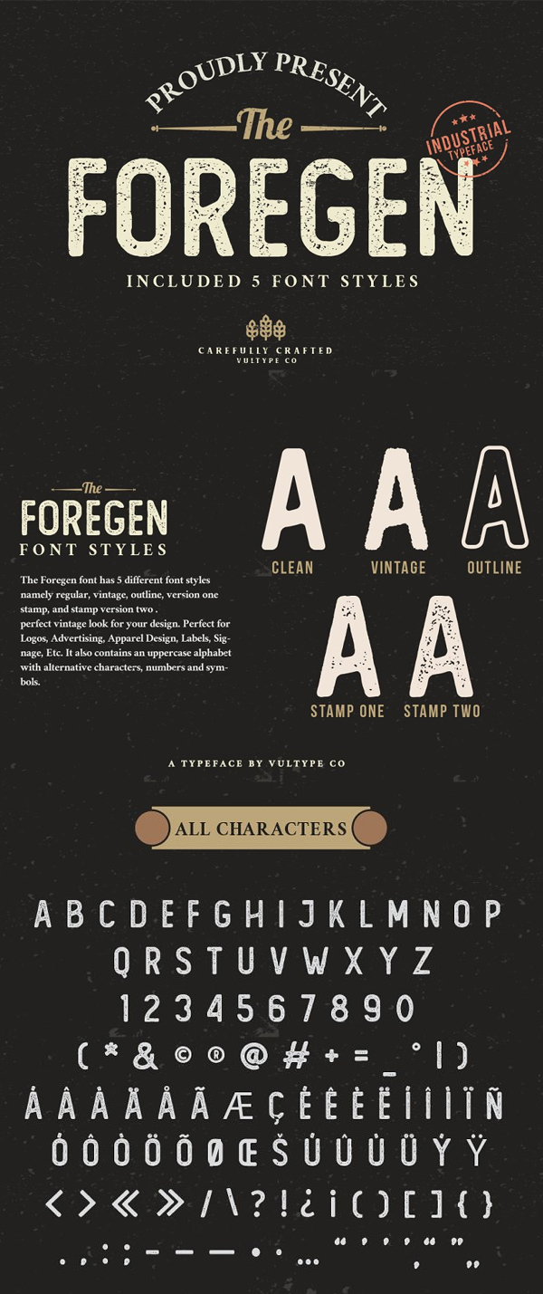 The Foregen - Vintage Stamp Font