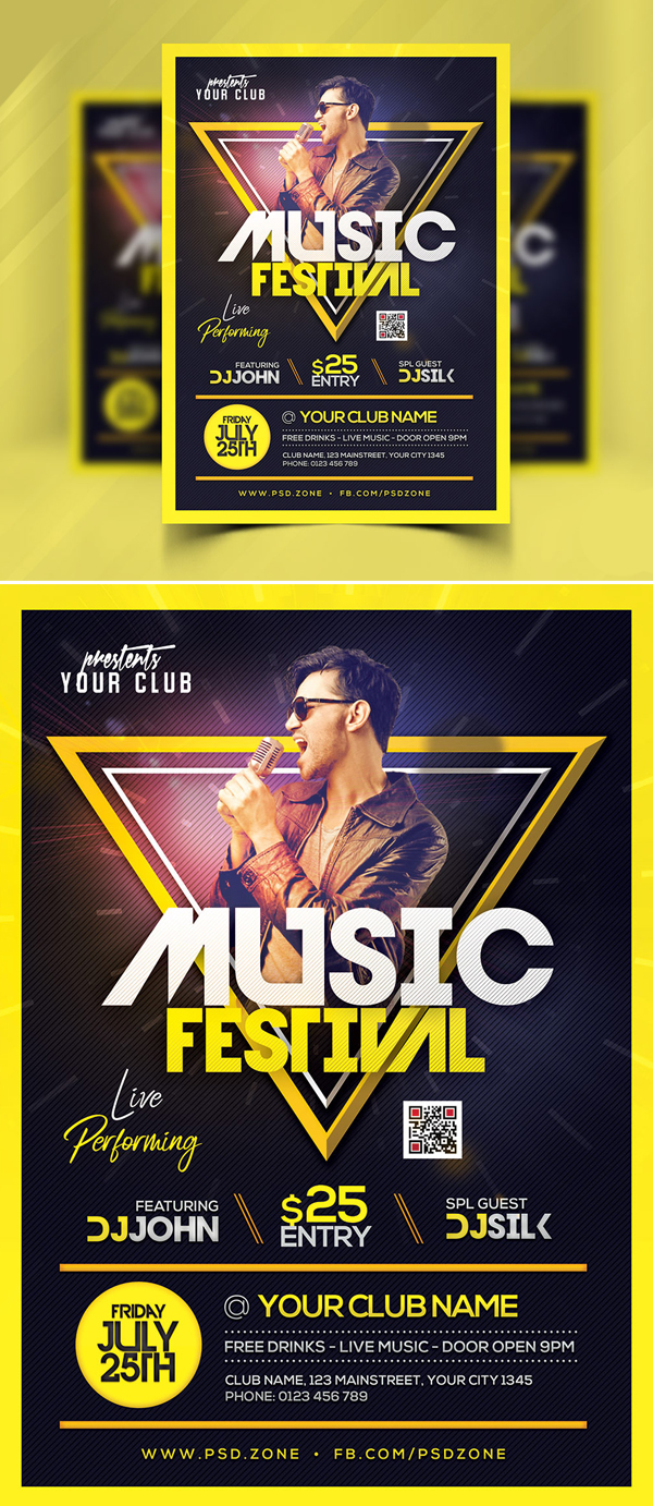 Free Music Festival Flyer Template Free Font