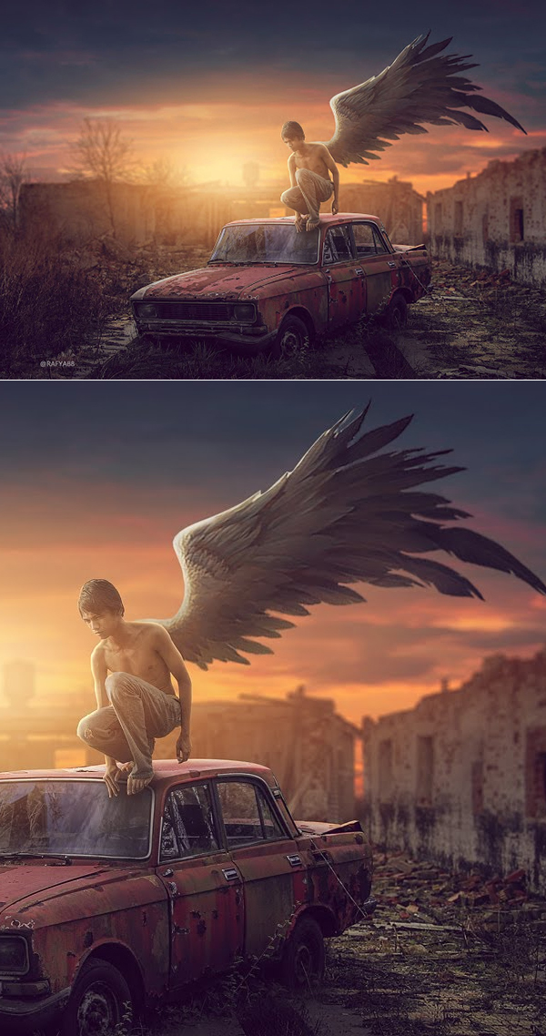 How to Make Side Wing Sunset Effect Photo Manipulation Tutorial