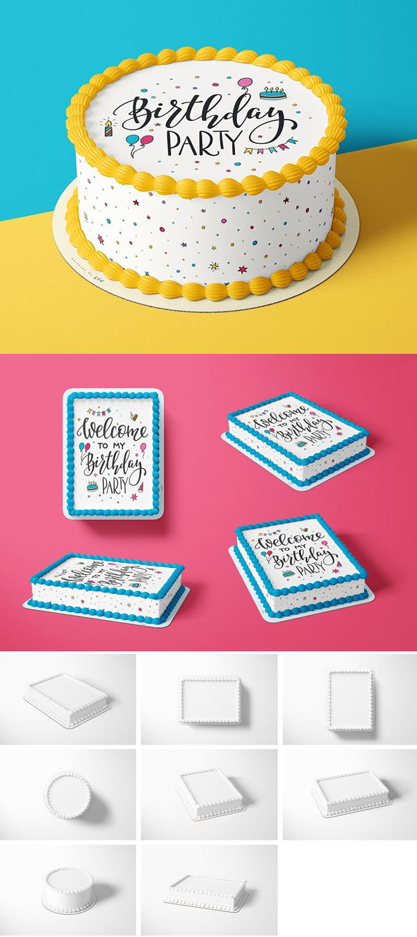 Edible Cake Topper Mockup Set