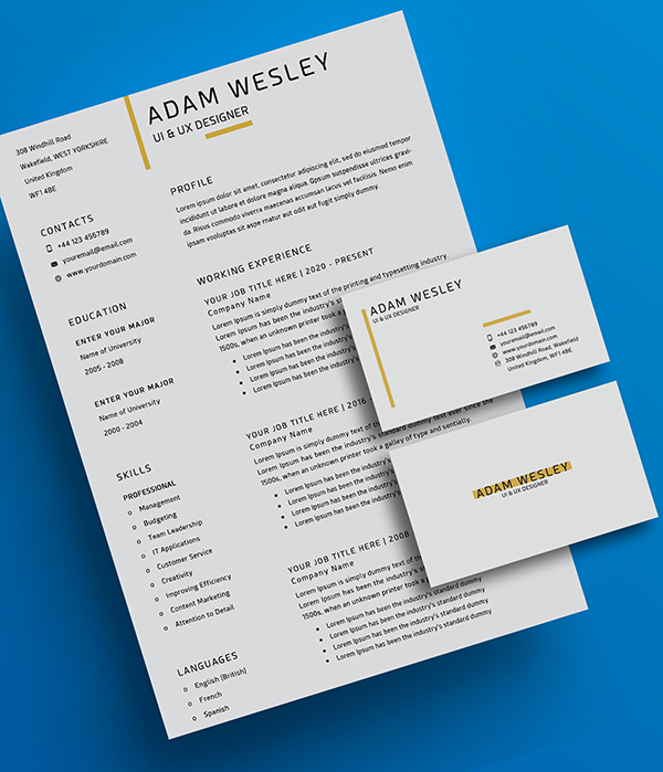 Free Simple Resume Template with Business Card