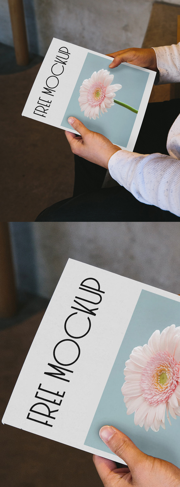 Free Magazine in Hands PSD Mockup