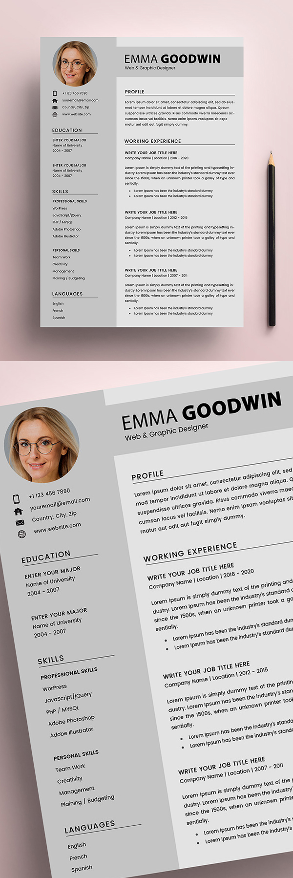 Free 2 Page Resume + Cover Letter