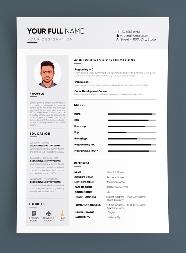 Free Professional CV / RESUME Template