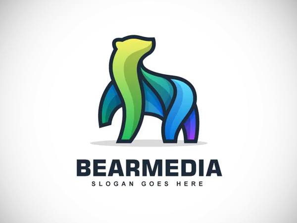 Bear Color Line Logo Vector Template