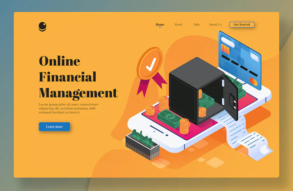 Online Financial Management-Isometric Landing Page