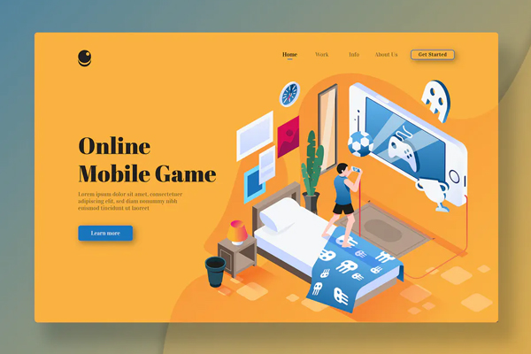 Online Mobile Game - Isometric Landing Page