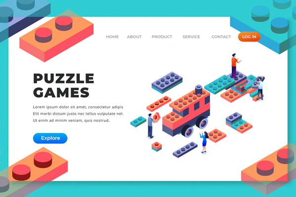 Puzzle Games - Isometric Landing Page